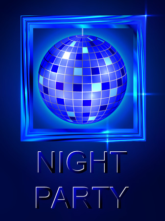 Night out. Dance disco. Disco ball. Bright blue shiny design. For flyers, invitations, posters, tickets. Premium abstract background. Vector illustration. Stock Vector - 51425756