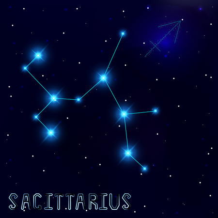 constellation sagittarius: The Constellation Of Sagittarius. Starry sky. Dark blue background of space. Bright shining stars. Zodiac constellation. Astrological sign. Vector illustration.