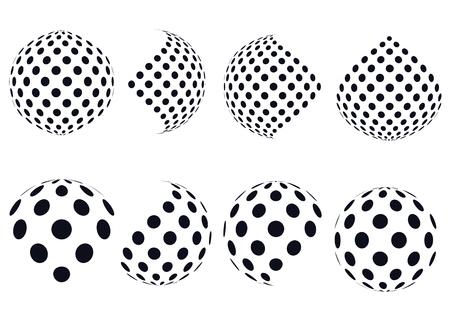 3D esferas del vector de medios tonos. Conjunto de fondos abstractos. ? Otted círculo. Aislado en el fondo blanco. esfera en blanco y negro patrón de puntos. elemento de diseño. Ilustración del vector.