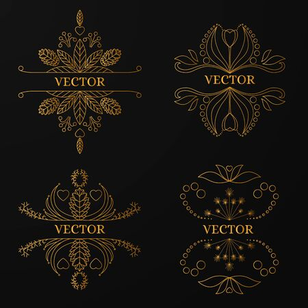 jewelry store: Linear gold frame on black background. Luxury ornamental template for your design of jewelry store, Spa center, logo on a business card. Vector illustration.