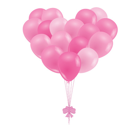 light pink: A bunch of balloons. Pink balloons in the shape of a heart. Design for Valentines day, birthday, cards. Isolated on white. Vector illustration.