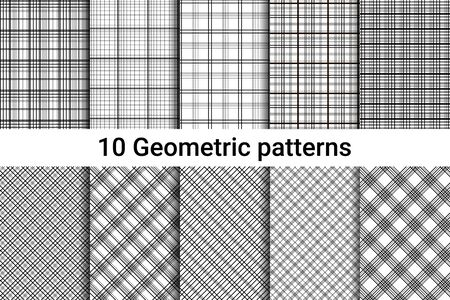 strict: Ten abstract seamless patterns. Black and white colors. Horizontal, vertical and diagonal lines. Strict style. Vector illustration. Illustration