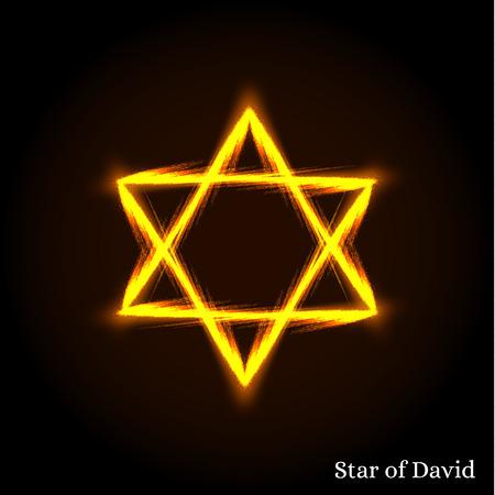 estrella de david: La Estrella de David. El escudo de David. Hexagrama. Un símbolo antiguo. La estrella de seis puntas. El sello del rey Salomón. El símbolo judío. Símbolo de oro brillante y resplandeciente. Ilustración del vector.