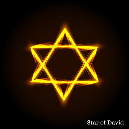 jewish star: The Star Of David. The Shield Of David. Hexagram. An ancient symbol. The six-pointed star. The seal of king Solomon. The Jewish symbol. Bright and shining Golden symbol. Vector illustration.
