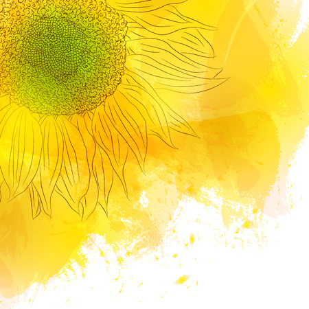Sunflower. Bright Sunny yellow flower on watercolor background. Design for invitation cards, birthday, with love, save the date. The spring style. Vector illustration.  イラスト・ベクター素材