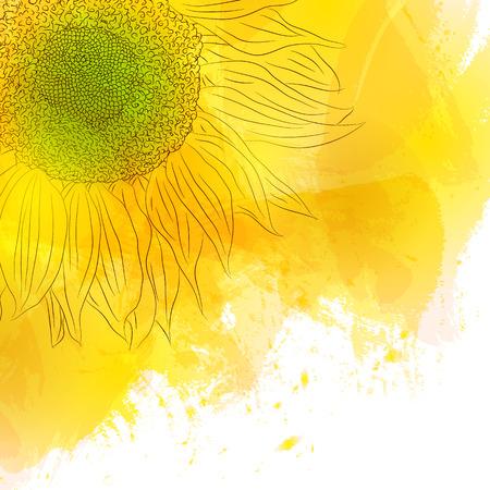 girasol: Girasol. Soleado brillante de la flor amarilla en el fondo de la acuarela. Dise�ar para tarjetas de invitaci�n, cumplea�os, con amor, ahorre la fecha. El estilo de la primavera. Ilustraci�n del vector.