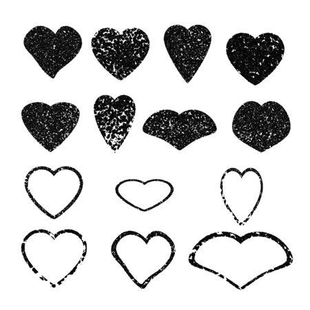 confession: Heart. Set of black grunge hearts. Design for Valentines day, love confession, cards, save the date. Vector illustration. Illustration