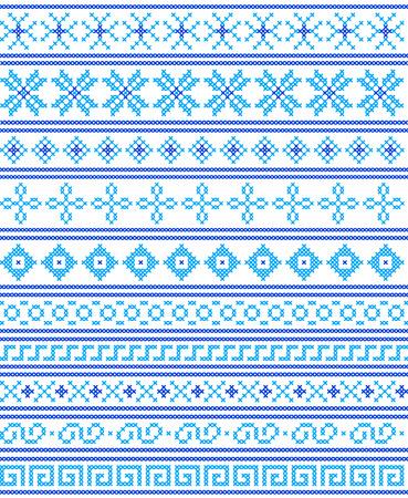 punto de cruz: Punto de cruz. Artesanía y aficiones. Azul fronteras sin costura y marcos. Diseño del invierno. Ilustración del vector.