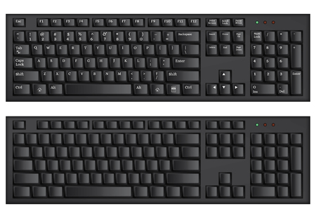 computer accessory: Wireless black computer keyboard. Latin white letters. Keyboard without symbols. Computer accessory. Isolated on white. Technical progress. Vector illustration. Illustration