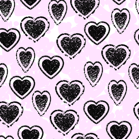 asymmetry: Heart seamless pattern. Abstract pink background. Black grunge hearts. Asymmetry. Glamorous and stylish background. Design for greeting cards for Valentines day, with love, save the date. Illustration