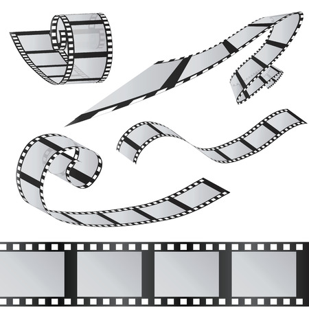 35mm: The set of films. 35mm Film roll. Realistic 3D image. Old film strip. Movie time Vector illustration. Isolated on white. Illustration