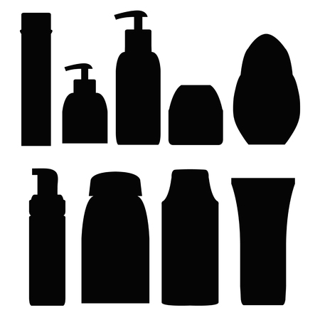 bathtime: Set of bottles for the bath. Shower gel, Shampoo, cream, Soap. Cosmetics. Personal hygiene. Black silhouette. Isolated on white background. Vector illustration.