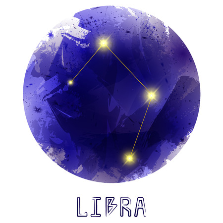 concept magical universe: The Constellation Of Libra. Starry sky. Dark watercolor background of space. Bright shining stars. Zodiac constellation. Astrological sign. Vector illustration.