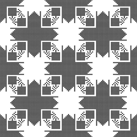 stitchcraft: Seamless pattern. The cross-stitch. Yellow, red, green, and black colors. Crafts and Hobbies. Black and white background. Symmetrical repetition. Vector illustration. Illustration