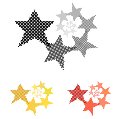 ethno: Star. Circular ornament. Reducing the size. Cross-stitch. Crafts and Hobbies. Design element. Vector illustration.