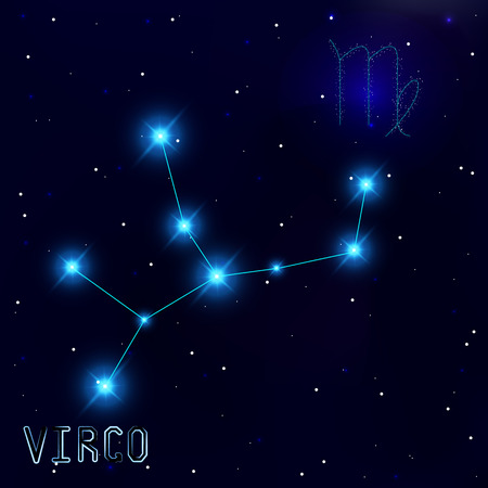 virgo the virgin: The Constellation Of Virgo. Starry sky. Dark blue background of space. Bright shining stars. Zodiac constellation. Astrological sign. Vector illustration. Illustration