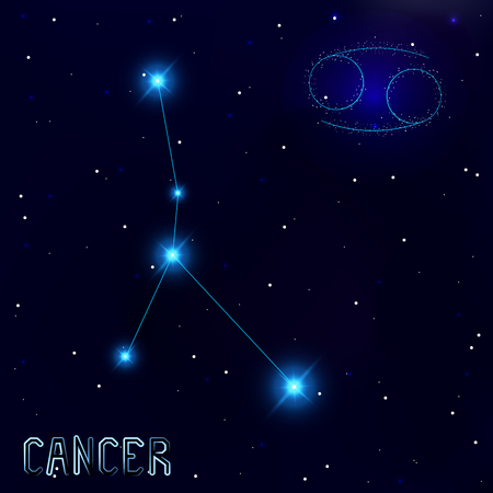 cosmo: The Constellation Of Cancer. Starry sky. Dark blue background of space. Bright shining stars. Zodiac constellation. Astrological sign. Vector illustration.