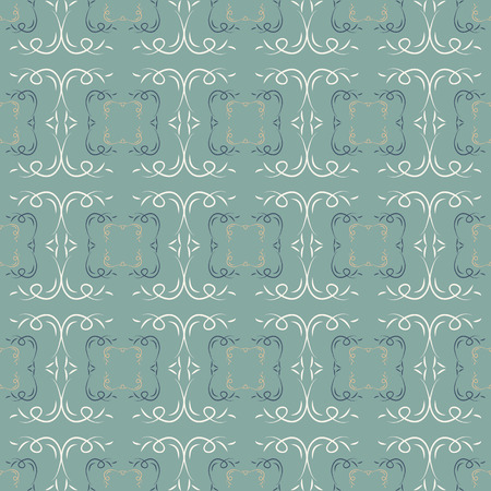 patterned wallpaper: Abstract seamless pattern. Green background. Patterned Wallpaper. Curls and fancy shapes. Vector illustration. Illustration