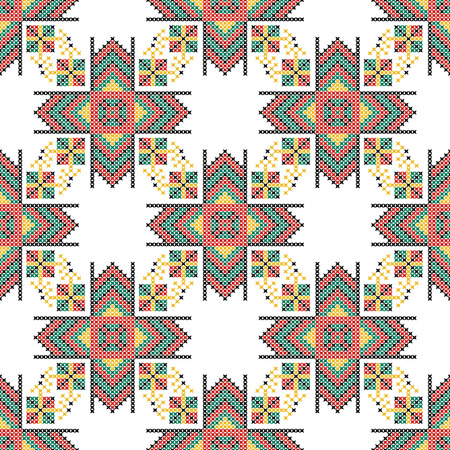 stitchcraft: Seamless pattern. The cross-stitch. Yellow, red, green, and black colors. Crafts and Hobbies. White background. Symmetrical repetition. Vector illustration.