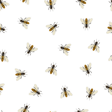 queen bee: Bee seamless pattern. Black and orange silhouette of the bee. Flying insect. Minimalism and simplicity of design. Vector illustration.
