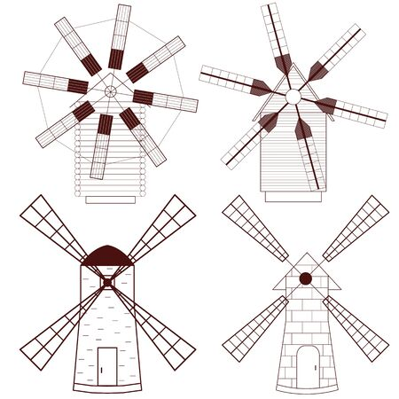 wind mills: Set of Wind Mill. Buildings for grinding flour. The production of bread. Icon design for your company. Mills with different wings. Dark red color. Wind energy. Vector illustration.
