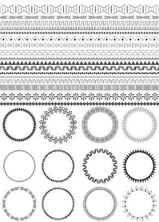 marcos redondos: Conjunto de cepillos negro sin costura. Doce marcos redondos. fronteras étnicas para su diseño. motivos africanos. Monocromo. Aislado en el fondo blanco. patrones tribales. Ilustración del vector. Vectores