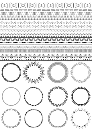 Set of seamless black brushes. Twelve round frames. Ethnic borders for your design. African motifs. Monochrome. Isolated on white background. Tribal patterns. Vector illustration.
