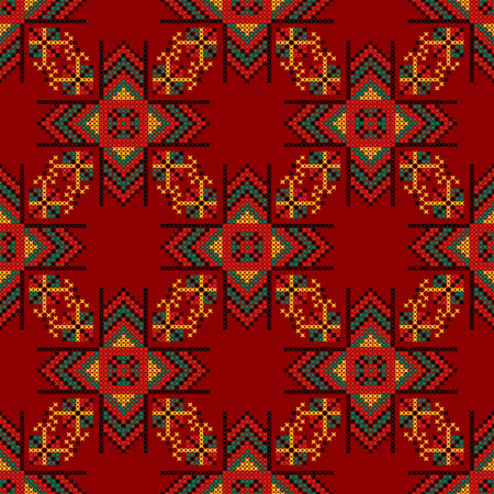 stitchcraft: Seamless pattern. The cross-stitch. Yellow, red, green, and black colors. Crafts and Hobbies. A bright background. Symmetrical repetition. Vector illustration. Illustration