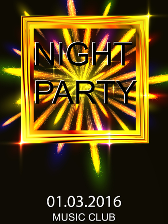 night out: Night out. Dance disco. A volley of fireworks. Shiny bright yellow design. For flyers, invitations, posters, tickets. Premium abstract background. Vector illustration. Illustration