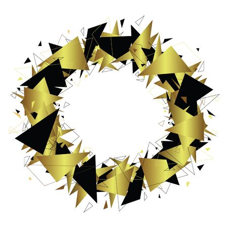 radial cracks: Round geometric frame. Gold and black triangles. Fragments. Chaotic composition. Place for text. Isolated on white. Vector illustration. Illustration