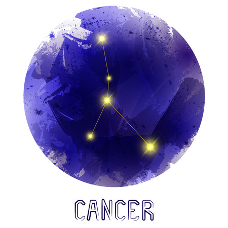 cosmo: The Constellation Of Cancer. Starry sky. Dark watercolor background of space. Bright shining stars. Zodiac constellation. Astrological sign. Vector illustration. Illustration