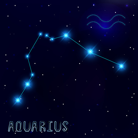 cosmo: The Constellation Of Aquarius. Starry sky. Dark blue background of space. Bright shining stars. Zodiac constellation. Astrological sign. Vector illustration.