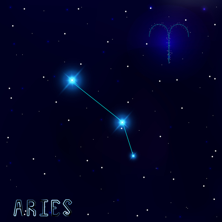 cosmo: The Constellation Of Aries. Starry sky. Dark blue background of space. Bright shining stars. Zodiac constellation. Astrological sign. Vector illustration.