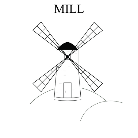 milling: Wind Mill. Building for grinding flour. The production of bread. Icon design for your company. Mill with four triangular wings. Wind energy. Vector illustration. Illustration