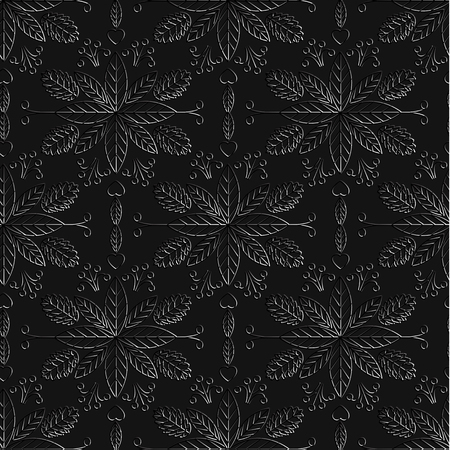 jewelry store: Seamless pattern on a black background. Luxury ornamental template for your design of jewelry store, Spa center on a business card. Silver patterns. Vector illustration.