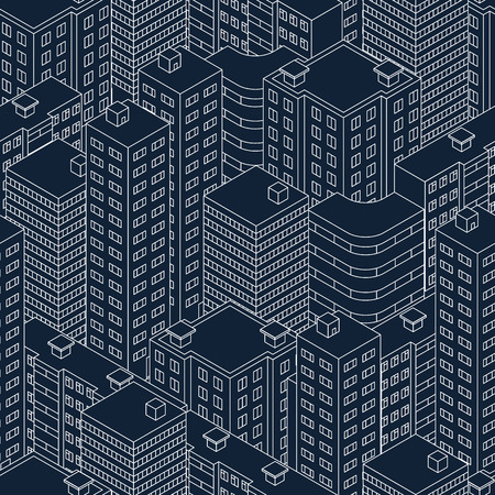 dark street: Abstract seamless pattern. Isometric building at night. Dark blue color. Linear style. The outlines of skyscrapers. House with Windows. The neighborhood. City street. Vector illustration.