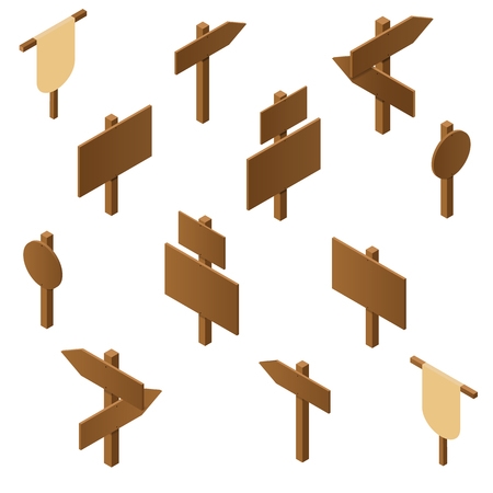 plywood: Isometric wooden pointers. Brown plywood. Rustic signs direction road. Wooden stand for posters and ads. The arrow direction. Game design. Vector illustration. Illustration