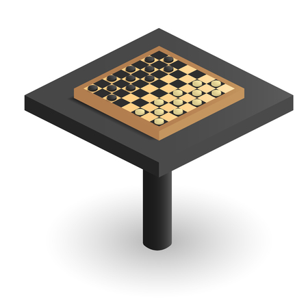 Checkerboard in perspective on the table. Isometric image of checkers. Black and white checkered playing field. Board game for children and adults. Isometric figures checkers. Vector illustration. Illustration