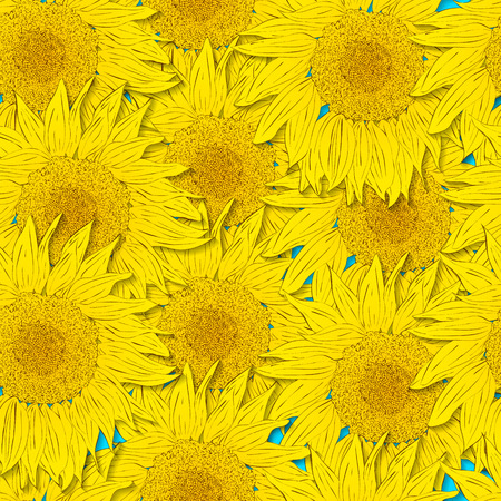 Sunflower seamless pattern. Bright yellow flowers on a blue background. The beauty of nature. Hand drawn sunflower. Asymmetrical floral background. Vector illustration.