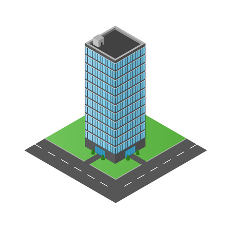 high road: High glass building. The office center. Business center. Multi-storey structure. The modern architecture. The road around the house. Vector illustration. Illustration