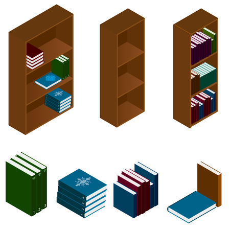 shelving: Bookshelves with books in the isometric. Wooden high shelving for books. Stacks of books of different colors and sizes. Isolated on white background. Vector illustration.