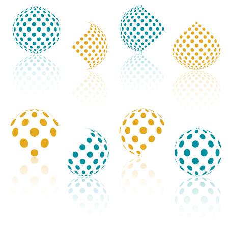 esfera: 3D esferas del vector de medios tonos. Conjunto de fondos abstractos. círculo de puntos. efecto de la reflexión. Naranja y esfera azul con el modelo de puntos. elemento de diseño. Ilustración del vector.