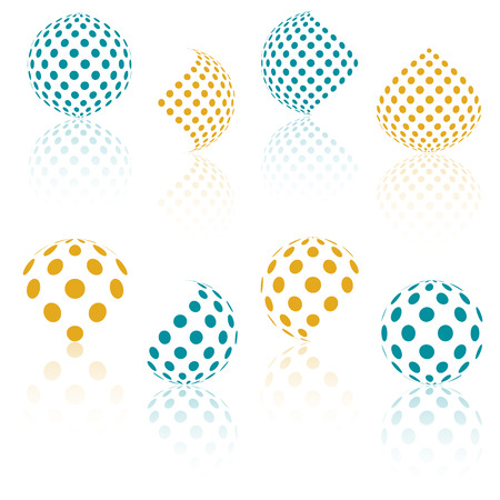 3D vector halftone sferen. Set van abstracte achtergronden. Gestippelde cirkel. Reflectie effect. Oranje en blauwe bol stippen patroon met. Design element. Vector illustratie.