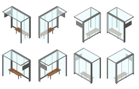 Izometryczny przystanek autobusowy szklanego. Zestaw 8 kątów kamery z różnych stron. Ławka do czekania. Ilustracji wektorowych. Samodzielnie na białym tle.