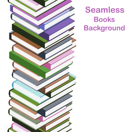 Seamless stack of books. Books of different colors and sizes. The collection of knowledge. Education and science banner. Isolated on white background. Vector illustration.