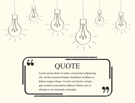 important information: Quote boxes. Abstract square black frame. Light bulb. Border for motivational quotes, important information and other content. The quotation mark. Vector illustration.