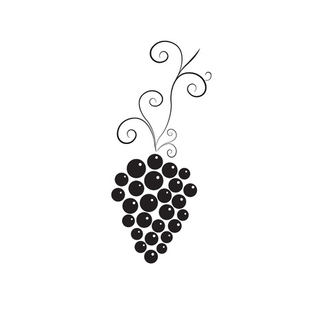 Vine with bunch of grapes. Black and white simple design. Logo for winery, wine store, wine menu. Round purple grapes. Healthy eating. Vitamins for health. Vector illustration.
