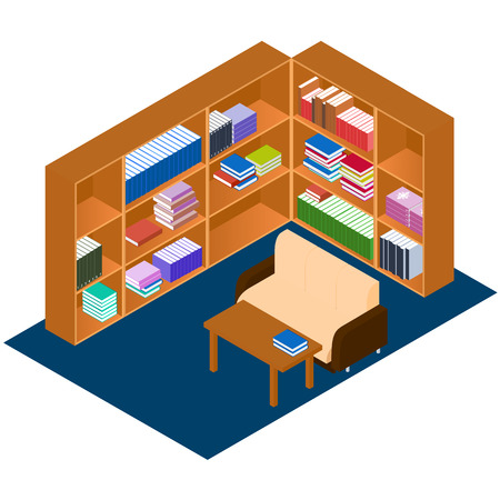 comfort classroom: Library isometric. Comfortable place for reading books. The personal library in the house. Bookshelves with stacks of books. A work Desk and a sofa. Vector illustration.