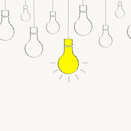 emergence: Light bulb drawn with chalk. Seamless background. The emergence of the idea. Yellow creative idea. Teamwork. Chalk Doodle. Vector illustration.