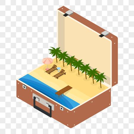 loungers: Open the Suitcase for travel. The isometry. The beach in the Luggage. Sea and sand. Sun loungers under palm trees. A wooden pier. Vacation and leave of absence. Vector illustration.